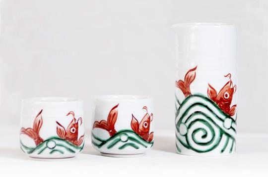 「遊鯉」徳利・ぐい呑みセット 伊万里焼 澤田痴陶人